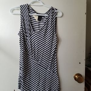 INC Black and White Striped Short Sleeve Tank